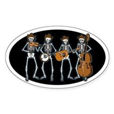 Cowboy Music Skeletons Oval Decal