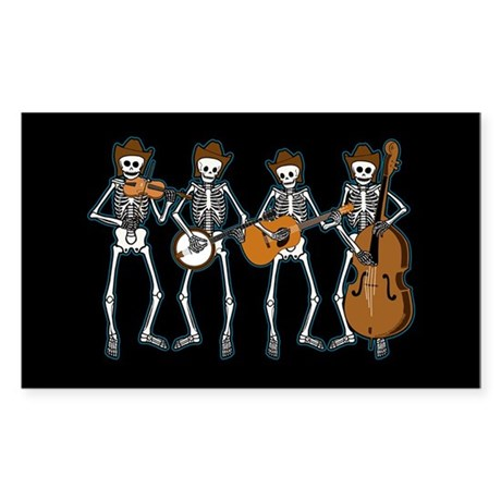Cowboy Music Skeletons Rectangle Sticker