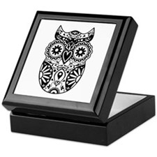 Sugar Skull Owl Keepsake Box