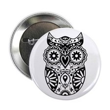 "Sugar Skull Owl 2.25"" Button"