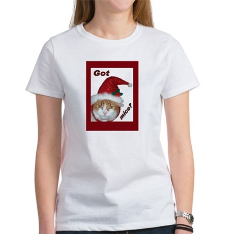 Santa Hat Christmas Cat Women's T-Shirt