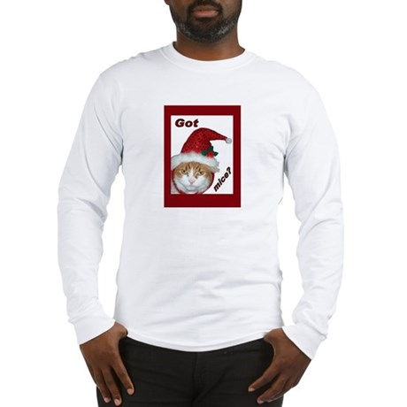 Santa Hat Christmas Cat Long Sleeve T-Shirt