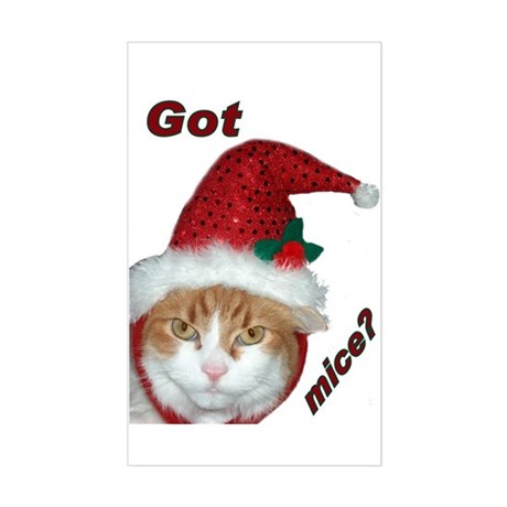 Santa Hat Christmas Cat Rectangle Sticker
