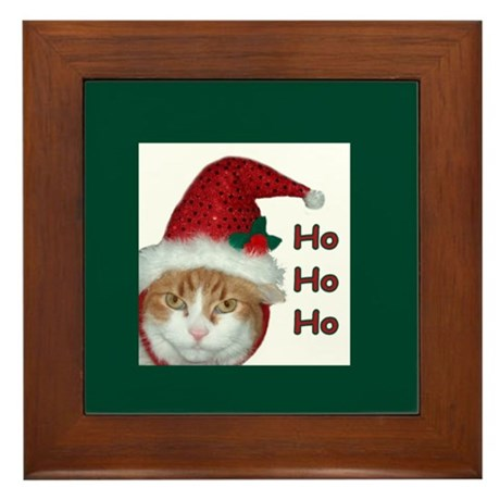 Santa Hat Cat Framed Tile