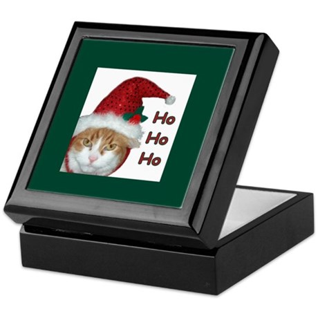 Santa Hat Cat Keepsake Box