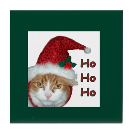 Santa Hat Christmas Cat Tile Coaster