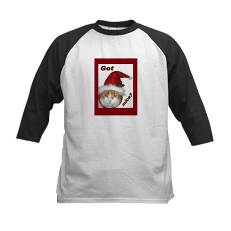 (Kids) Santa Hat Cat Kids Baseball Jersey