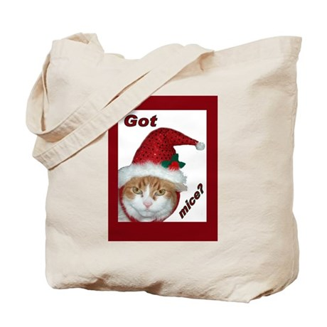 Santa Hat Christmas Cat Tote Bag