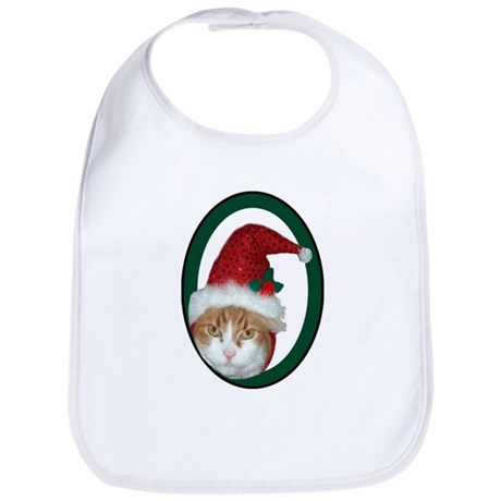 Santa Hat Christmas Cat Bib