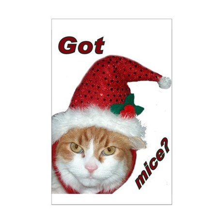 Santa Hat Christmas Cat Mini Poster Print