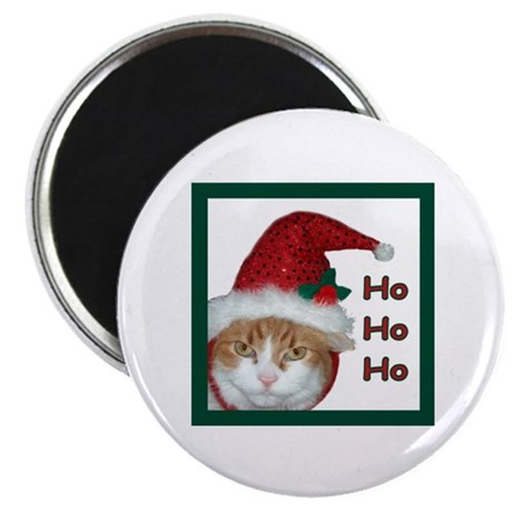 Santa Hat Christmas Cat Magnet