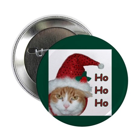 Santa Hat Christmas Cat Button