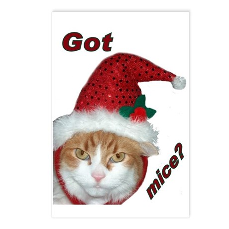 Santa Hat Christmas Cat Postcards (Package of 8)