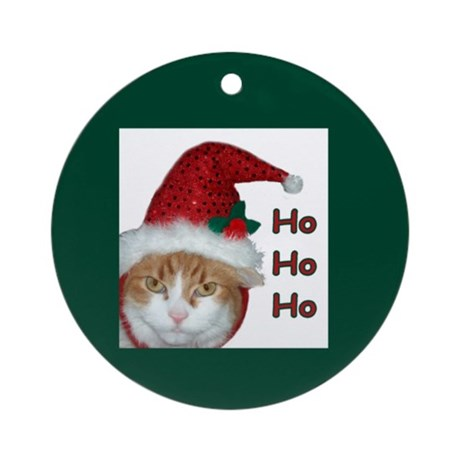 Santa Hat Cat Christmas Ornament (Round)