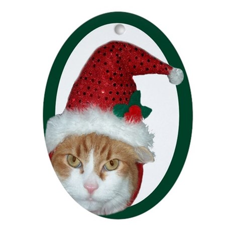 Santa Hat Cat Christmas Oval Ornament