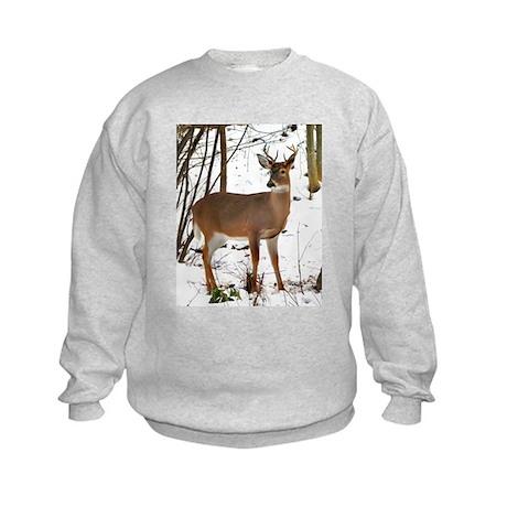 Whitetail Deer In Winter Kids Sweatshirt