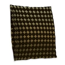 Chocolate Fleur de lis Burlap Throw Pillow