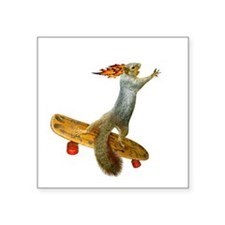 "Skateboarding Squirrel Square Sticker 3"" x 3"""