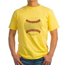 White Round Baseball Red Stitching T