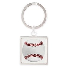 White Round Baseball Red Stitching Square Keychain