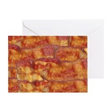 Fried Bacon Background Pattern Greeting Card
