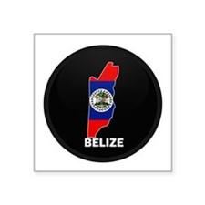 Flag Map of Belize Rectangle Sticker