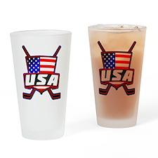 American Hockey Shield Logo Drinking Glass