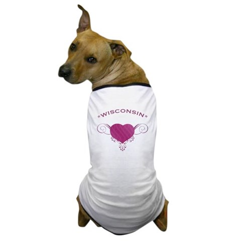 Wisconsin State (Heart) Gifts Dog T-Shirt