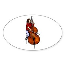 Girl playing orchestra bass red shirt Decal