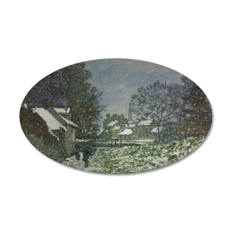 Snow at Argenteuil II by Cla 20x12 Oval Wall Decal