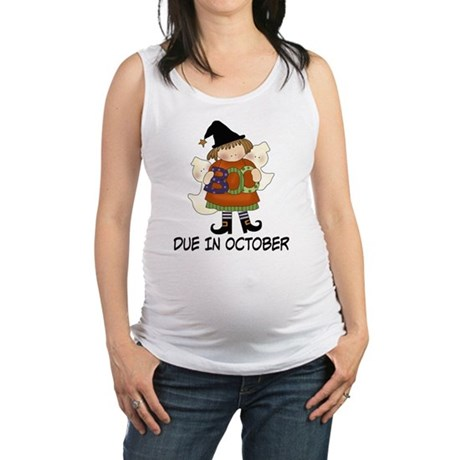 Halloween Due In October Witch Maternity Tank Top