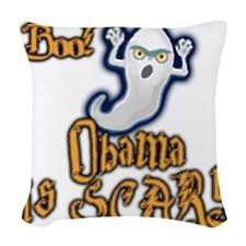 mccain halloween Woven Throw Pillow