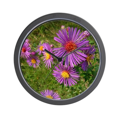 New England Aster Wall Clock
