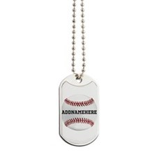 Personalized Baseball Red/White Dog Tags