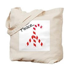 Christmas Candy Canes: Peace Tote Bag