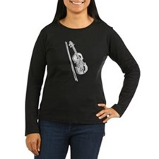 White Violin/Fiddle Women's Long Sleeve Dark Tee