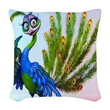 Prissy Peacock Woven Throw Pillow
