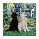 Bridge & 2 Standard Poodles Tile Coaster