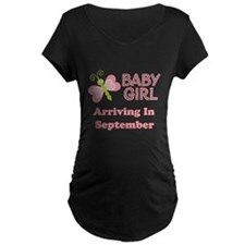 Baby Girl Due Date Announcement Maternity T-Shirt