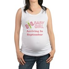 Baby Girl Due Date Announcement Maternity Tank Top