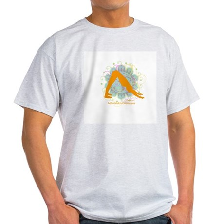 Get it Om. Downward Dog, Yoga Ash Grey T-Shirt