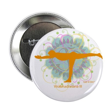 "Get it Om. Warrior III Yoga P 2.25"" Button (10 pac"