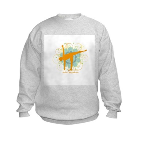 Get it Om. Half Moon Yoga Pos Kids Sweatshirt