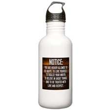 Notice Water Bottle