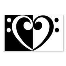 Bass Heart Music Rectangle Decal