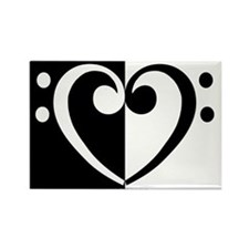 Bass Heart Music Rectangle Magnet