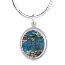 Waterlilies by Claude Monet Silver Oval Necklace