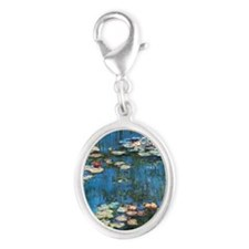 Waterlilies by Claude Monet Silver Oval Charm
