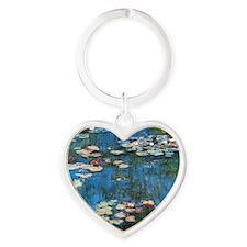 Waterlilies by Claude Monet Heart Keychain