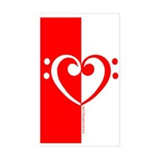 Red Bass Heart Rectangle Decal